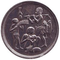 ФАО. Монета 10 пиастров. 1975 год, Египет. Из обращения.