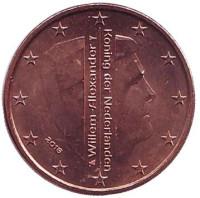 Монета 1 цент. 2016 год, Нидерланды.