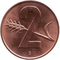 Монета 2 раппена. 1966 год, Швейцария. UNC.