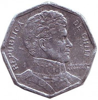 Бернардо О'Хиггинс. Монета 1 песо. 1995 год, Чили.