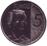 120 лет со дня смерти Андреса Бонифасио. Монета 5 песо. 2017 год, Филиппины.
