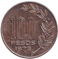 Монета 100 песо. 1973 год, Уругвай.