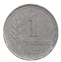 Монета 1 сентаво. 1972 год, Аргентина.