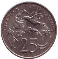 Монета 25 центов. 1989 год, Ямайка.
