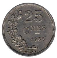 Монета 25 сантимов. 1938 год, Люксембург.