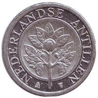 Цветок апельсинового дерева. Монета 1 цент. 2008 год, Нидерландские Антильские острова.