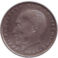 Конрад Аденауэр. Монета 2 марки. 1975 год (D), ФРГ.