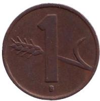 Монета 1 раппен. 1955 год, Швейцария.