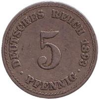 Монета 5 пфеннигов. 1893 год (A), Германская империя.