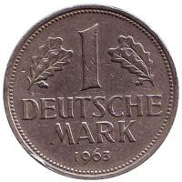 Монета 1 марка. 1963 год (F), ФРГ.