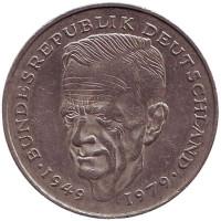 Курт Шумахер. Монета 2 марки. 1989 год (F), ФРГ. Из обращения.