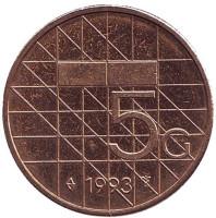 Монета 5 гульденов. 1993 год, Нидерланды.