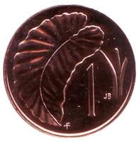 """Лист Таро. Монета 1 цент. 1975 год, Острова Кука. (Отметка монетного двора: """"FM"""")."""