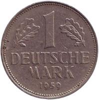 Монета 1 марка. 1959 год (D), ФРГ.
