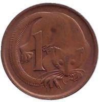 Карликовый летучий кускус. Монета 1 цент, 1980 год, Австралия. Из обращения.