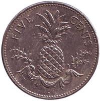 Ананас. Монета 5 центов, 2004 год, Багамские острова.