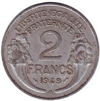 2 франка. 1949-В год, Франция.