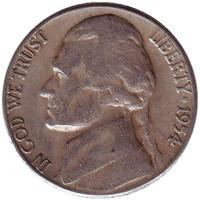 Джефферсон. Монтичелло. Монета 5 центов. 1954 год (S), США.