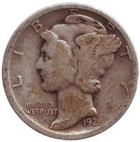 Меркурий. Монета 10 центов. 1928 год, США. Монетный двор D.