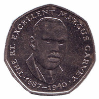 Маркус Гарви - национальный герой. Монета 25 центов. 1993 год, Ямайка.