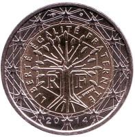 Монета 2 евро. 2014 год, Франция.
