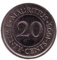 Монета 20 центов. 1995 год, Маврикий.