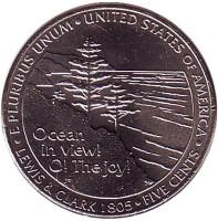 Выход к океану. Монета 5 центов (D), 2005 год, США.