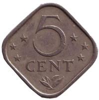 Монета 5 центов. 1971 год, Нидерландские Антильские острова.