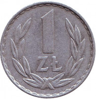 Монета 1 злотый. 1977 год, Польша.