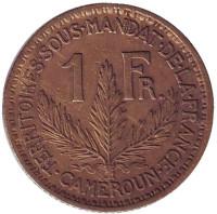 Монета 1 франк. 1924 год, Камерун.