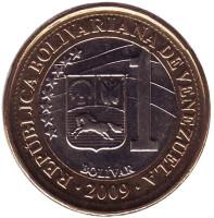 Монета 1 боливар. 2009 год, Венесуэла. UNC.