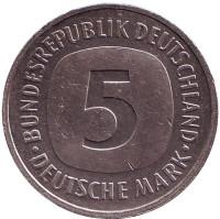 Монета 5 марок. 1992 год (F), ФРГ.