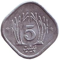 Монета 5 пайсов. 1985 год, Пакистан.