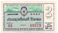 ДОСААФ СССР. 4-я Автомотолотерея. Лотерейный билет. 1969 год. (Выпуск 2)