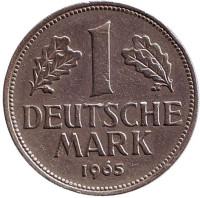 Монета 1 марка. 1965 год (F), ФРГ.