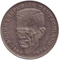 Курт Шумахер. Монета 2 марки. 1992 год (A), ФРГ. Из обращения.