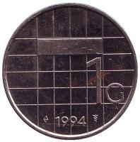 Монета 1 гульден. 1994 год, Нидерланды.