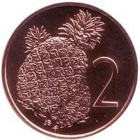 """Ананас. Монета 2 цента. 1975 год, Острова Кука. (Отметка монетного двора: """"FM"""")."""