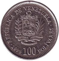 Монета 100 боливаров. 1999 год, Венесуэла.