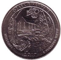 Национальные водные пути Озарк. Монета 25 центов (P). 2017 год, США.