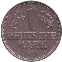 Монета 1 марка. 1975 год (G), ФРГ. Из обращения.