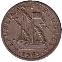 Монета 2,5 эскудо. 1963 год, Португалия.
