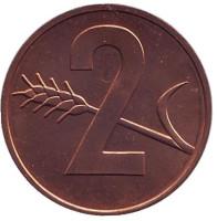 Монета 2 раппена. 1974 год, Швейцария. UNC.
