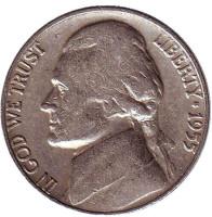 Джефферсон. Монтичелло. Монета 5 центов. 1955 год (D), США.
