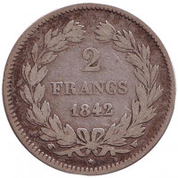 Луи-Филипп I. Монета 2 франка. 1842 год (W), Франция.