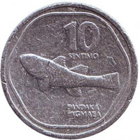Монета 10 сентимо. 1988 год, Филиппины.