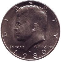 Джон Кеннеди. Монета 50 центов. 1980 год (P), США. UNC.