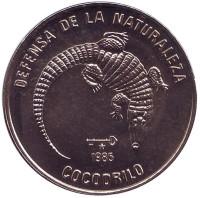 Кубинский крокодил. Природный заповедник. Монета 1 песо. 1985 год, Куба.