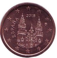 Монета 1 цент. 2018 год, Испания.