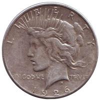"Доллар мира. Монета 1 доллар. 1926 год, США. (Отметка монетного двора: ""S"")"